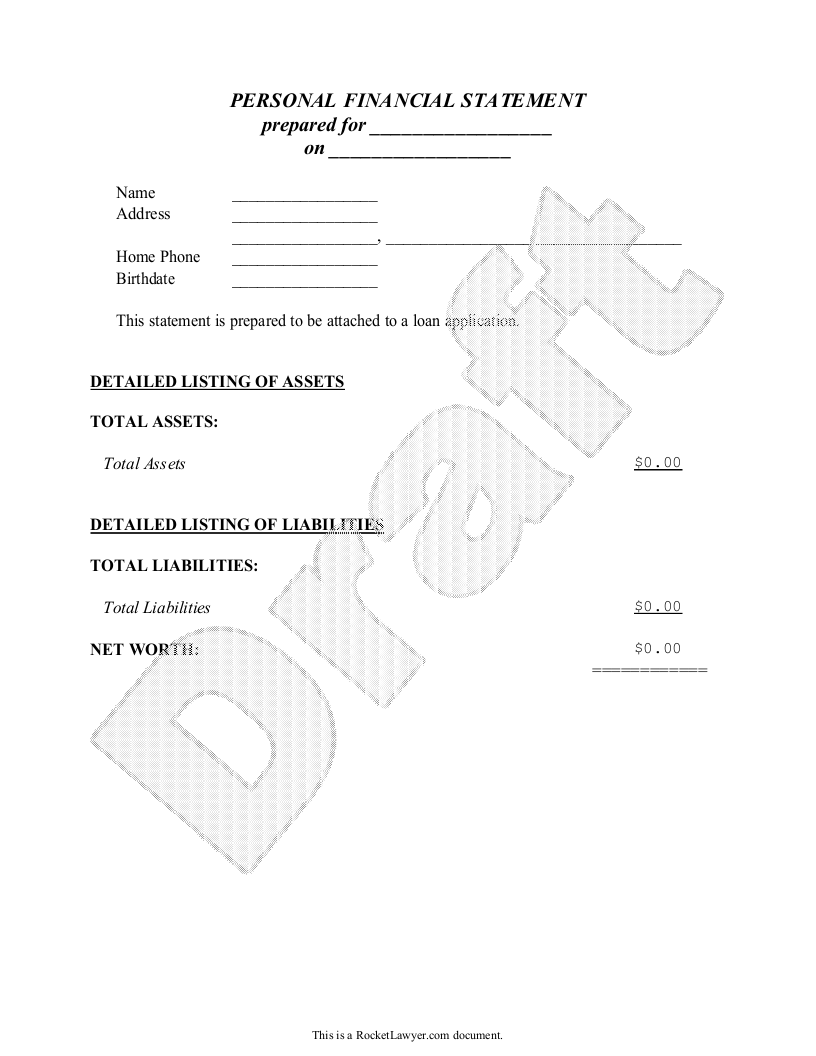 Sample Personal Financial Statement for Single People Form Template