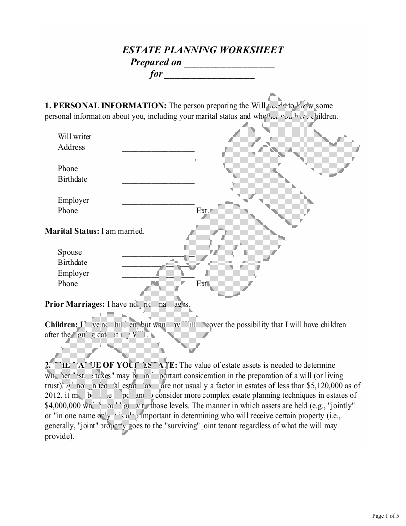 Sample Estate Planning Worksheet for Married People Form Template