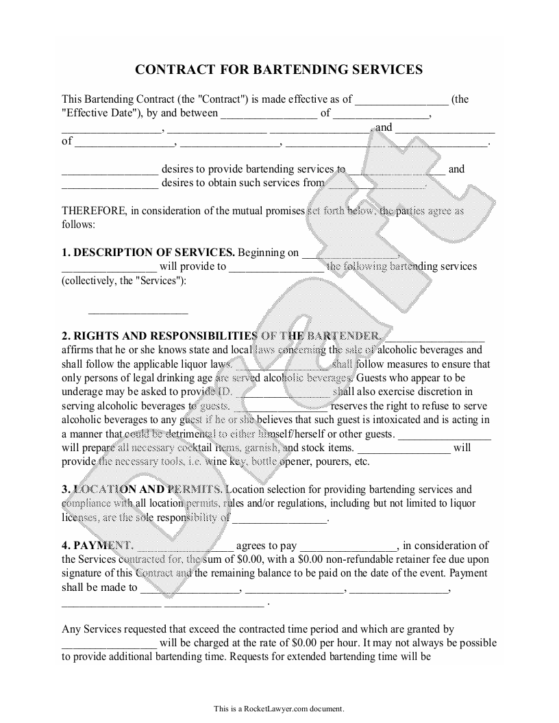 Sample Bartending Contract Form Template