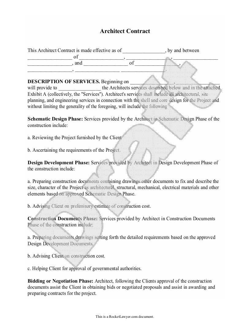 Sample Architect Contract Form