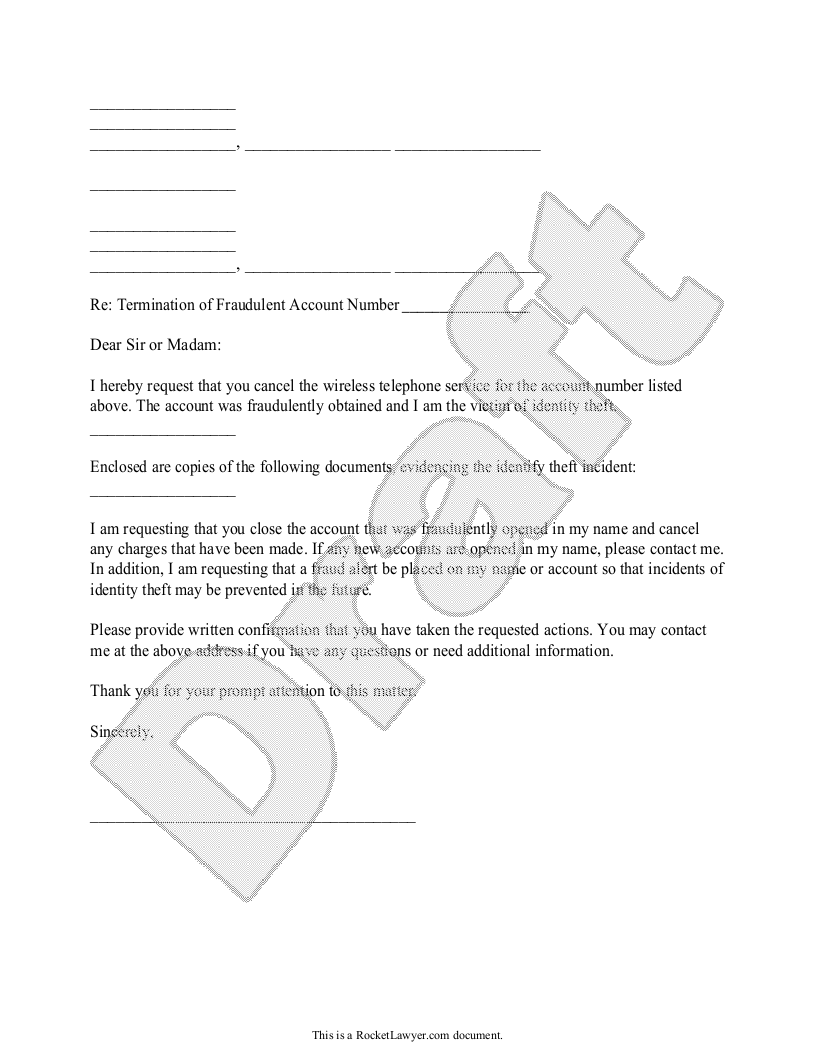 Sample Request to Cancel Unauthorized Cell Phone Service Form Template