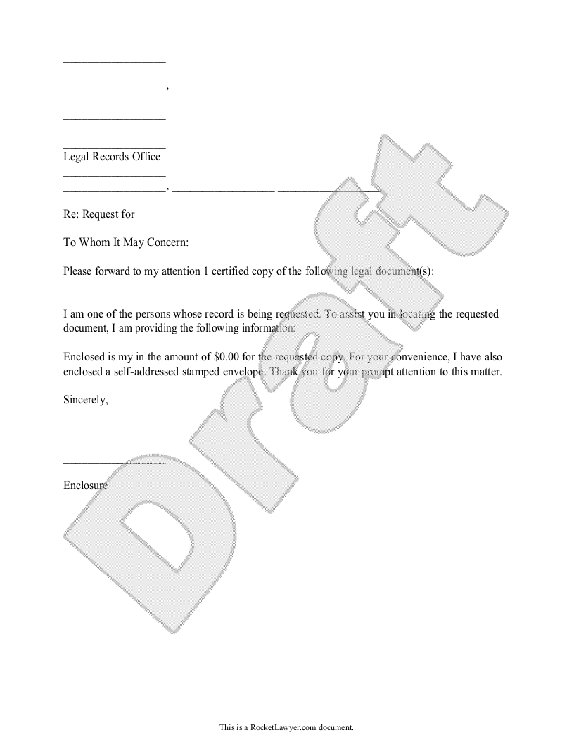 Sample Legal Records Request Letter Form Template