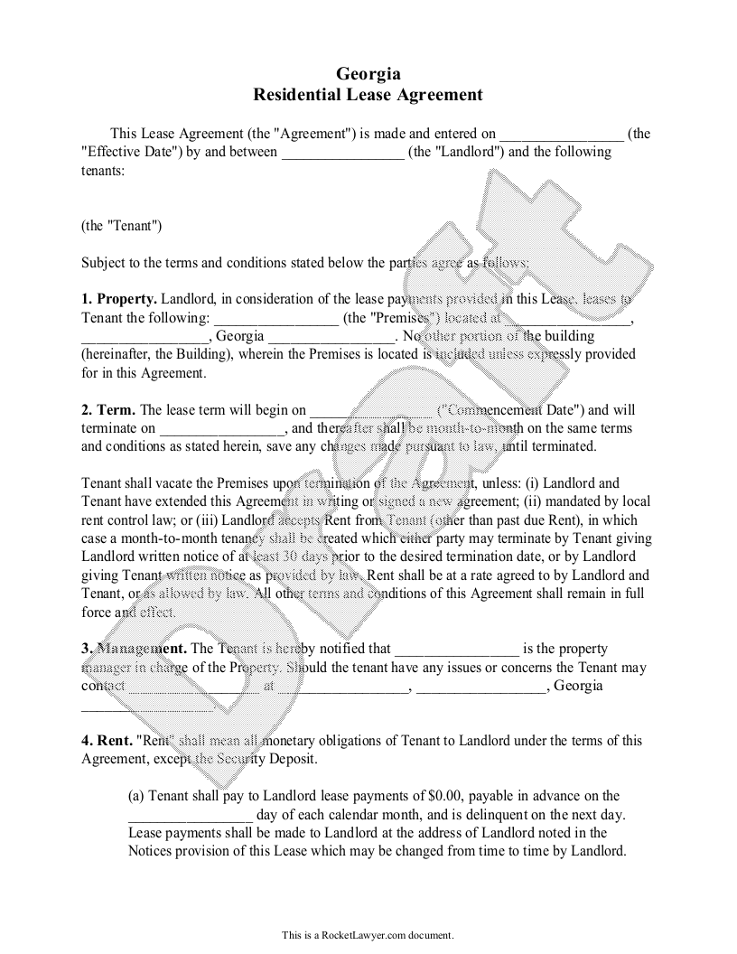 Sample Georgia Lease Agreement Form Template