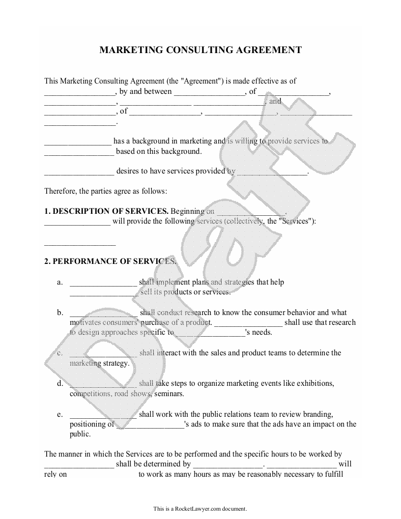 Sample Marketing Consulting Agreement Form Template