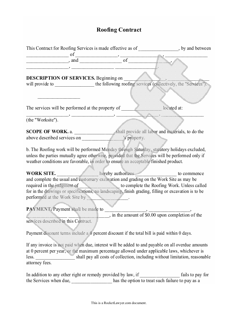 Sample Roofing Contract Form