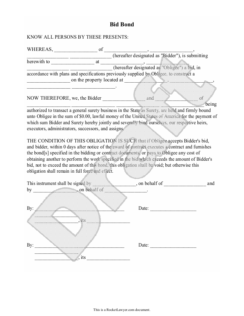Sample Bid Bond Form Template