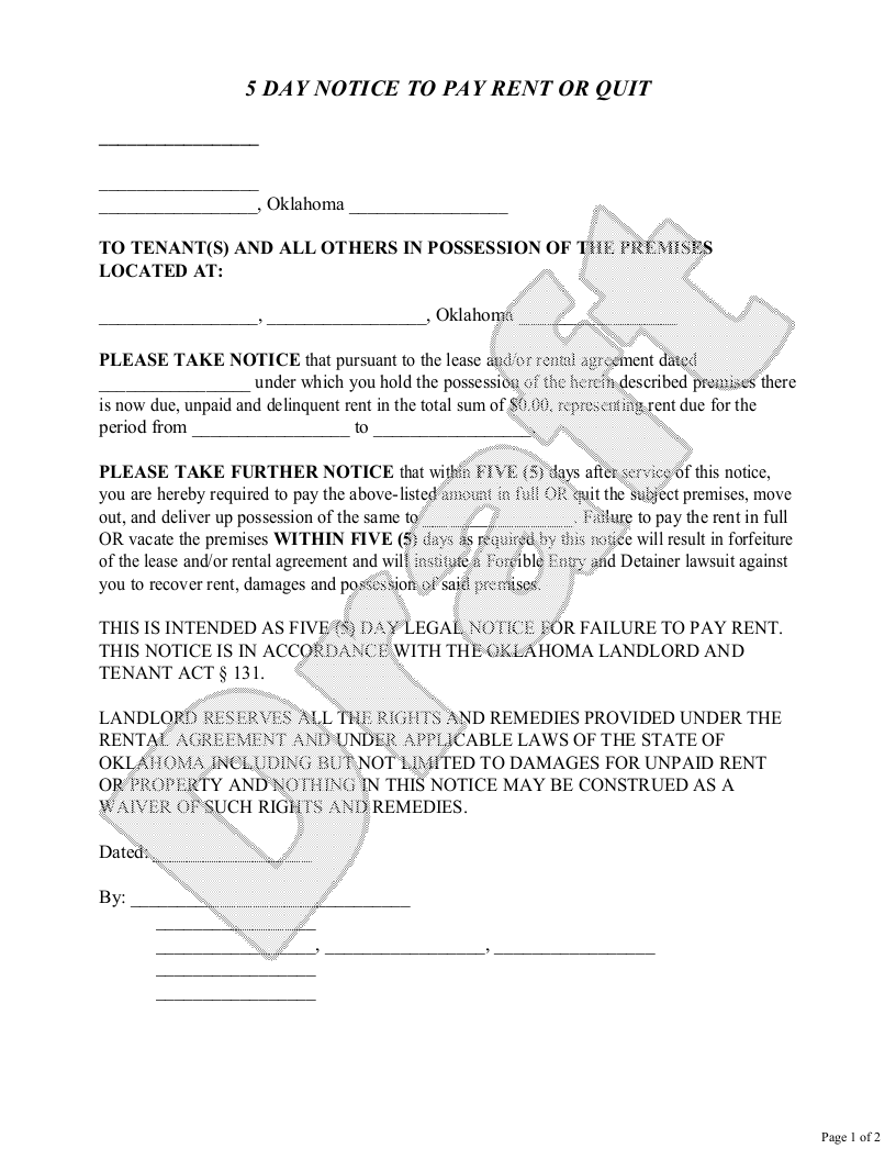 Sample Oklahoma Eviction Notice Form Template