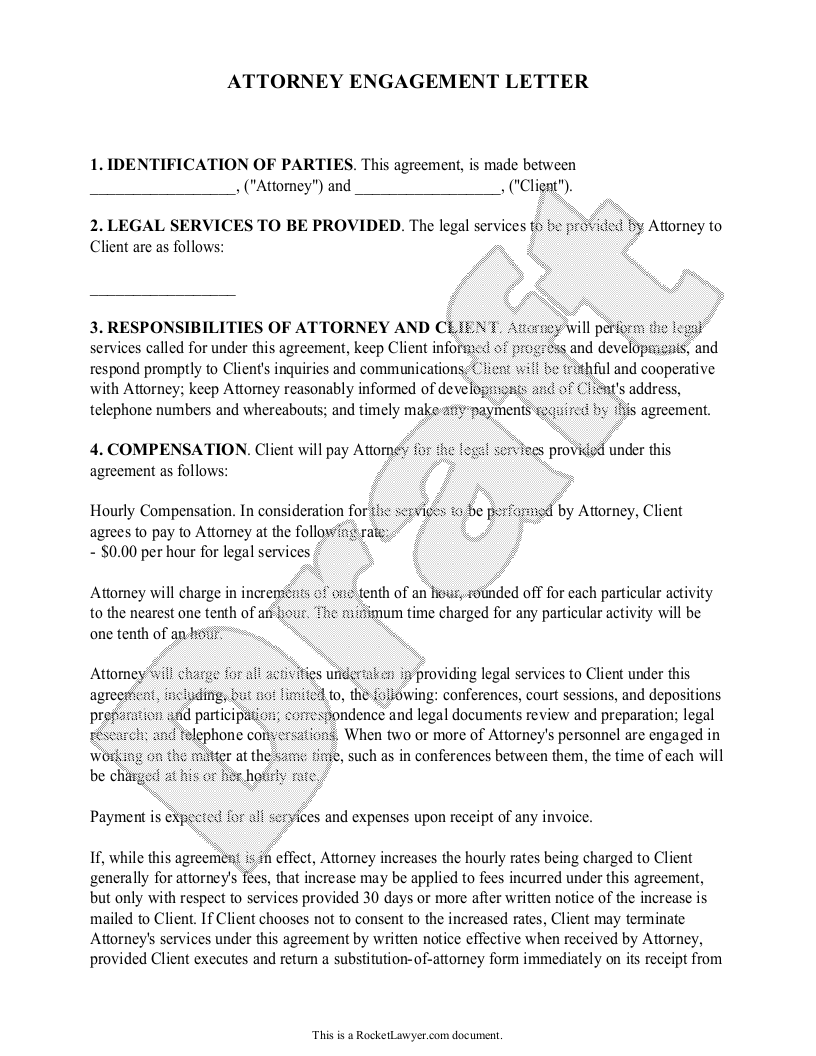 Sample Attorney Engagement Letter Form Template