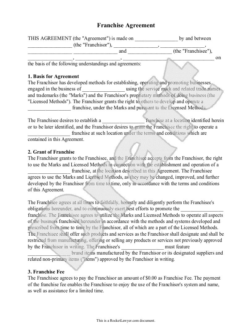 Sample Franchise Agreement Form Template
