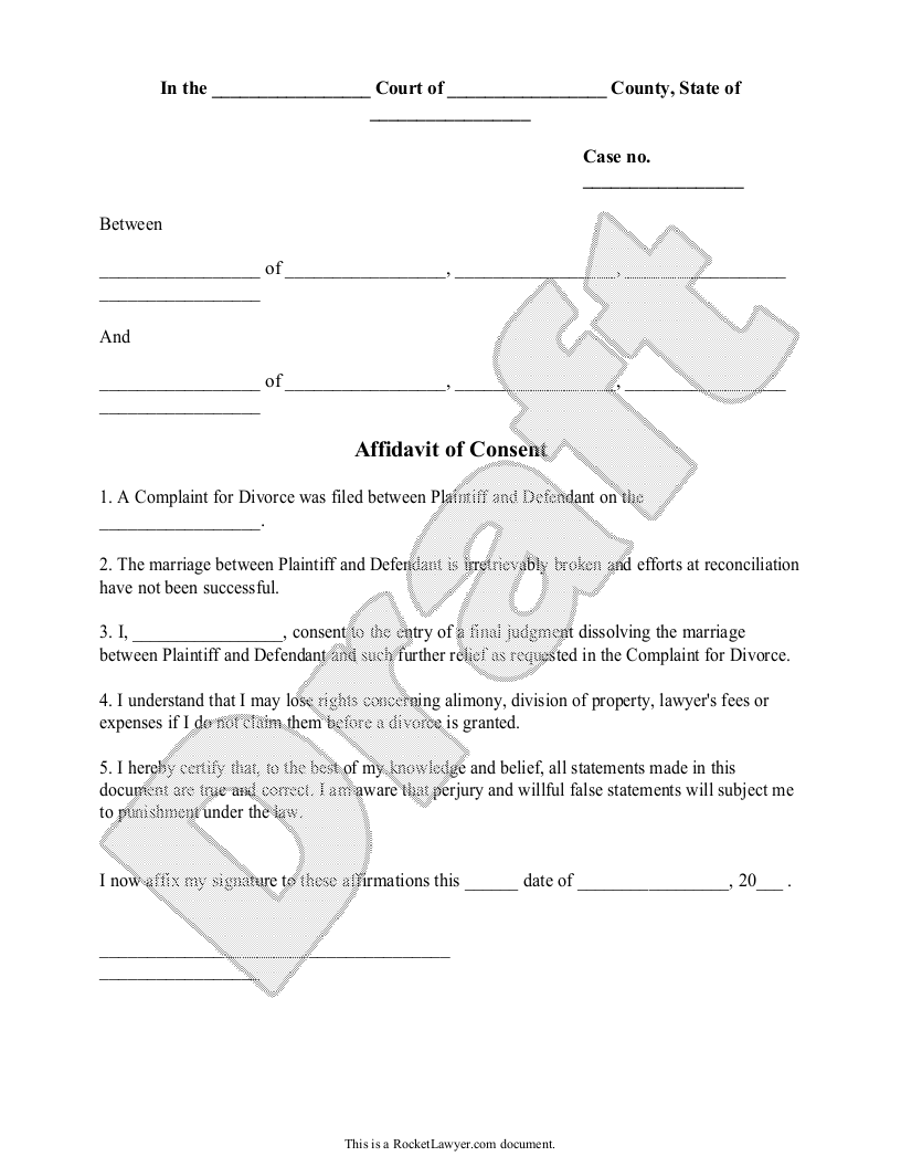 Sample Affidavit of Consent Form Template