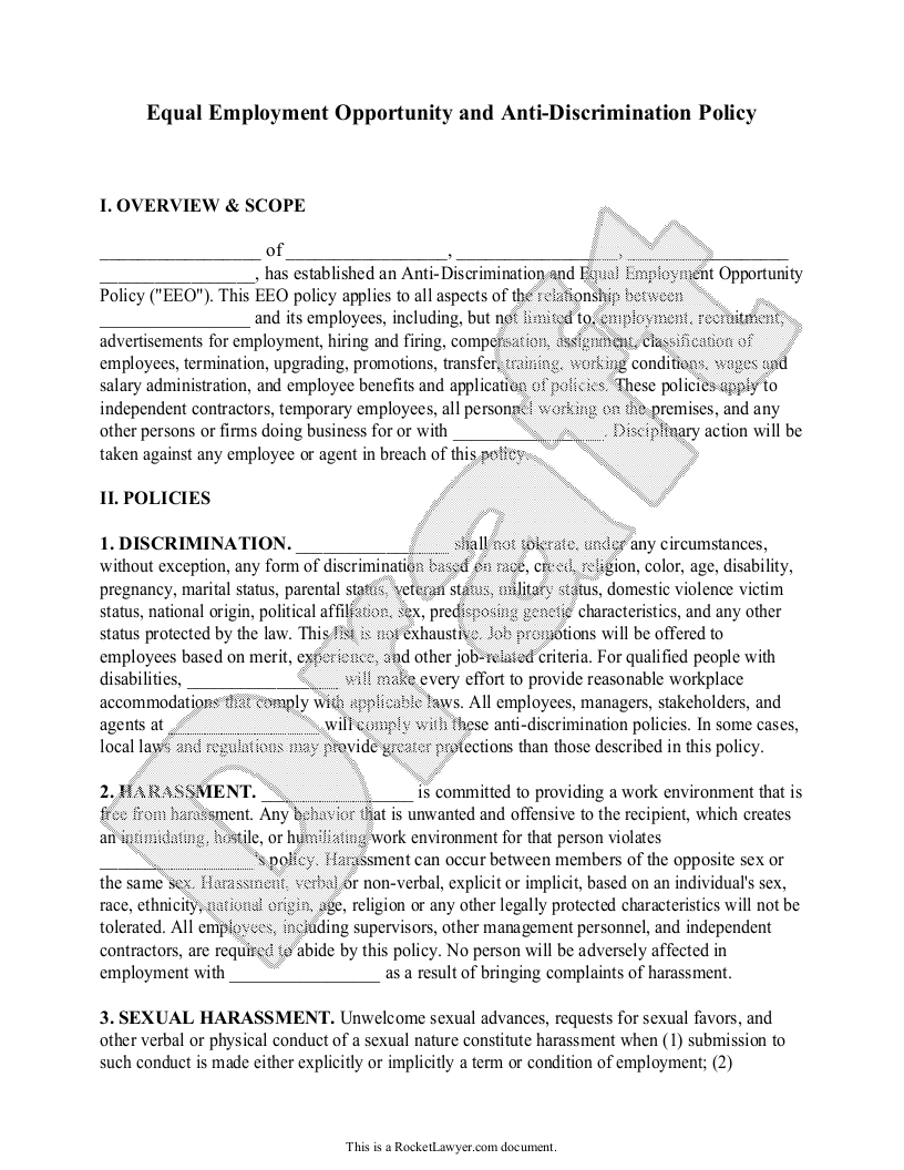 Sample Anti-Discrimination Policy Form Template