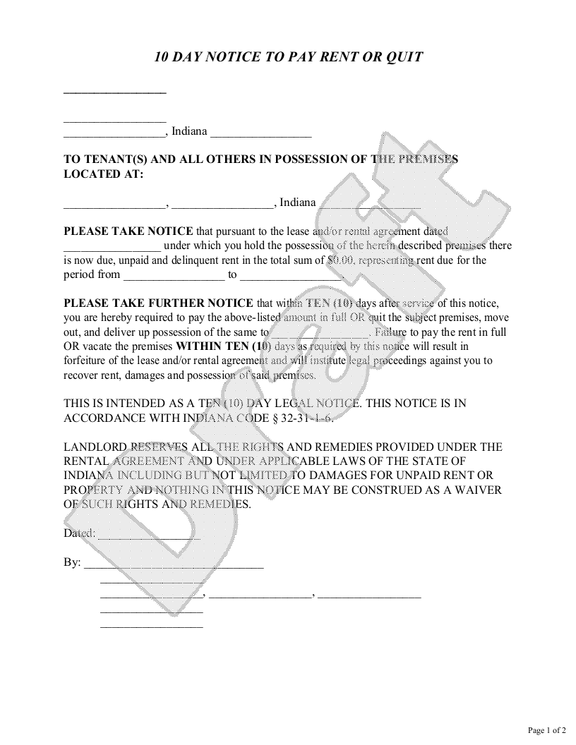 Sample Indiana Eviction Notice Form Template