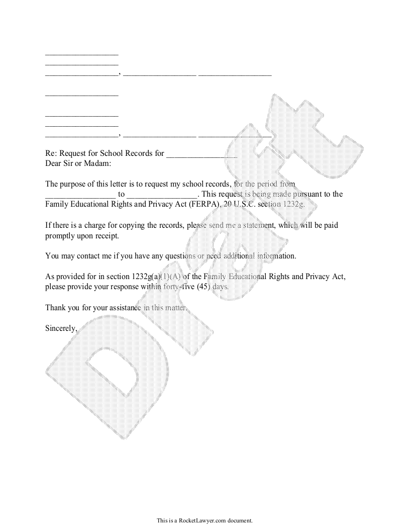 Sample Request for Copy of School Records Form Template