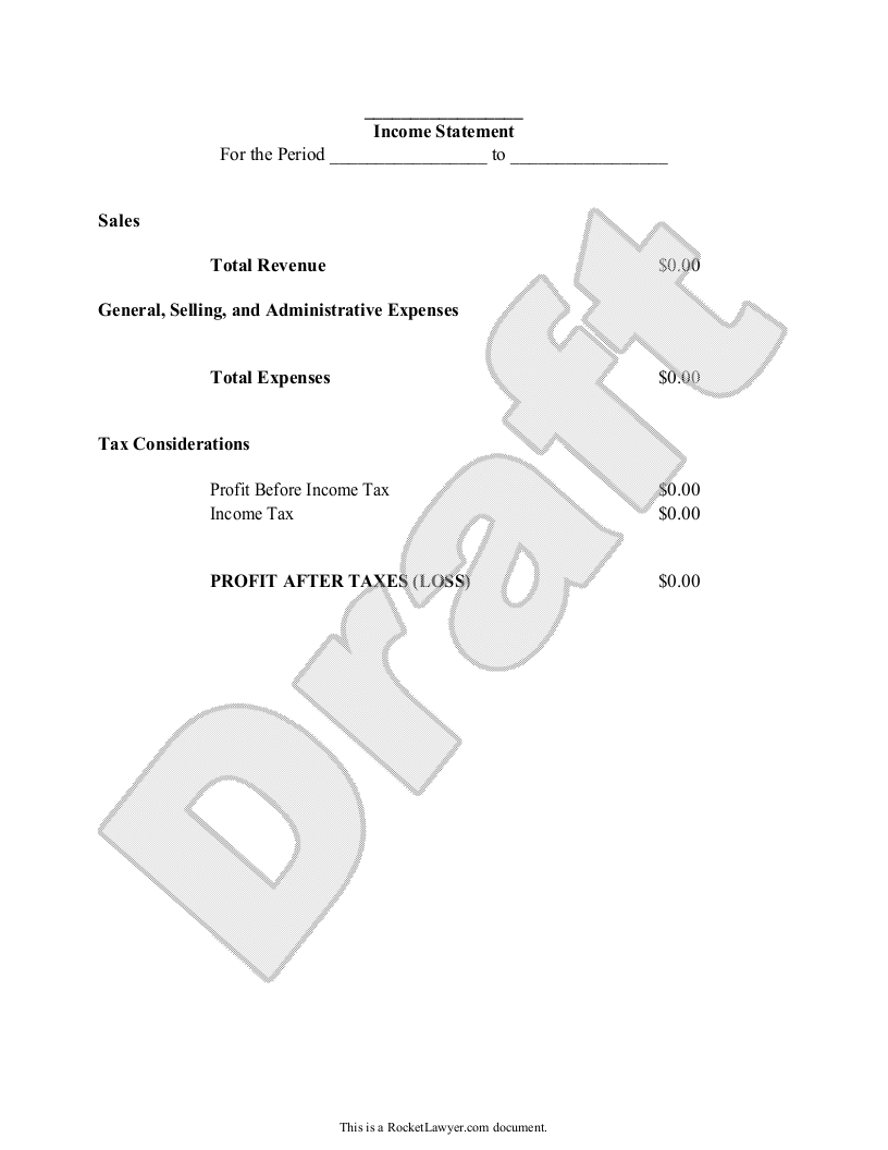Sample Business Financial Statement Form Template