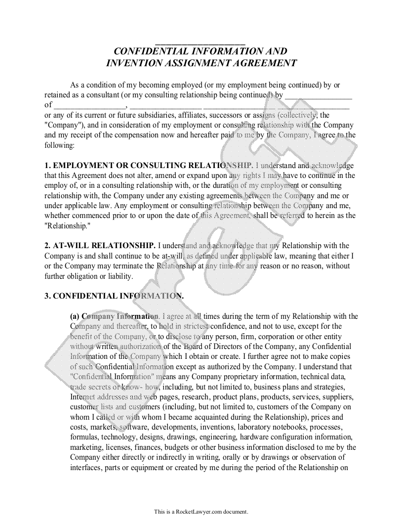 Sample Confidential Information and Invention Assignment Agreement Form Template