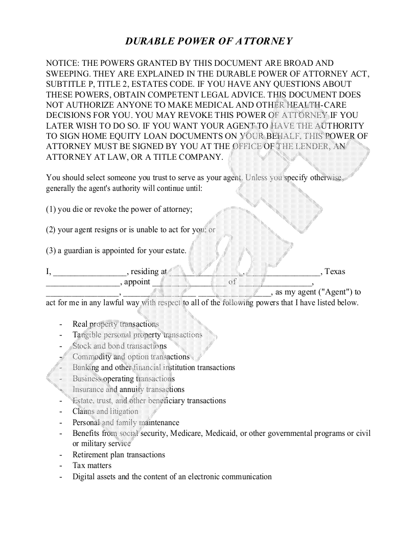 Sample Texas Power of Attorney Form Template