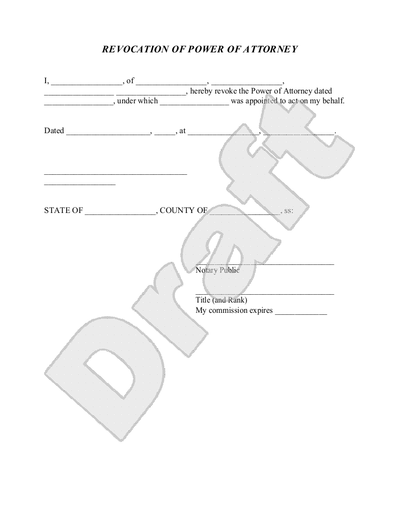 Sample Revocation of Power of Attorney Form Template