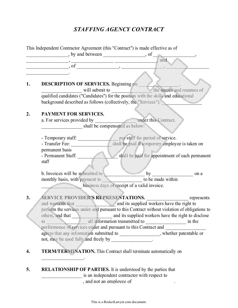 Sample Staffing Agency Contract Form Template