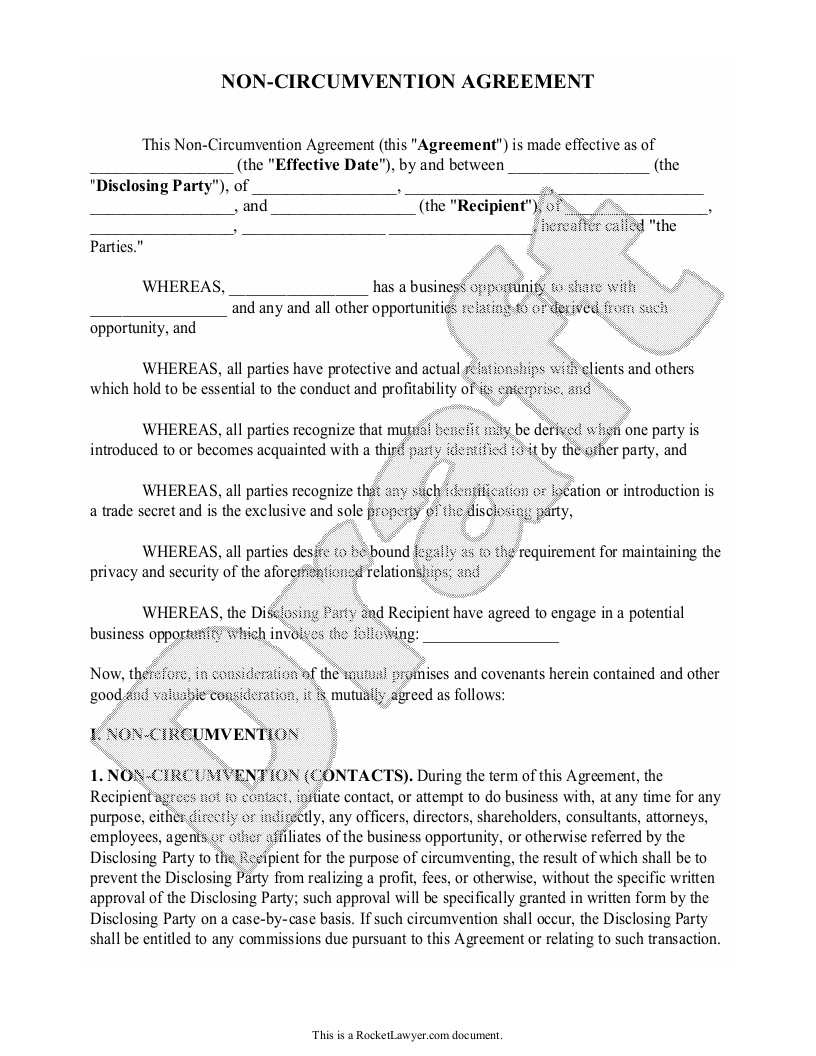 Sample Non-Circumvention Agreement Form Template
