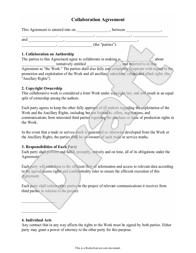 Sample Collaboration Agreement Form Template