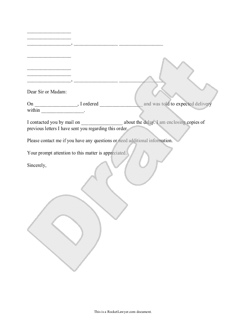Sample Demand for Delivery Form Template