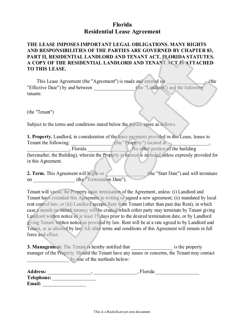 Sample Florida Lease Agreement Form Template
