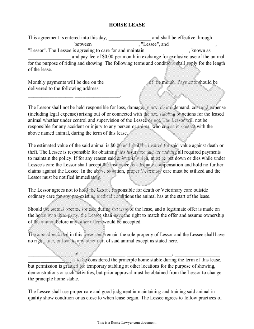 Sample Horse Lease Form Template