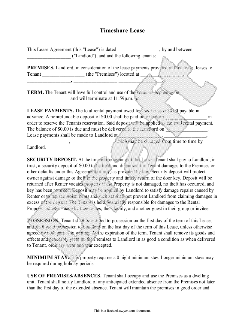 Sample Timeshare Lease Form Template