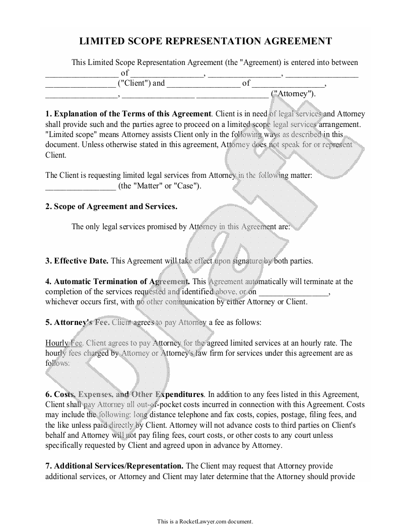 Sample Limited Scope Representation Agreement Form Template