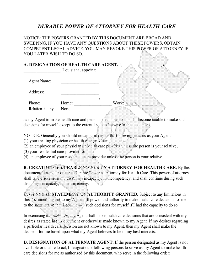 Sample Louisiana Healthcare Power of Attorney Form Template