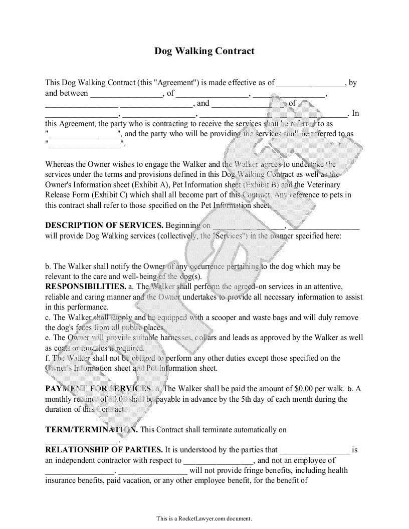 Sample Dog Walking Contract Form Template