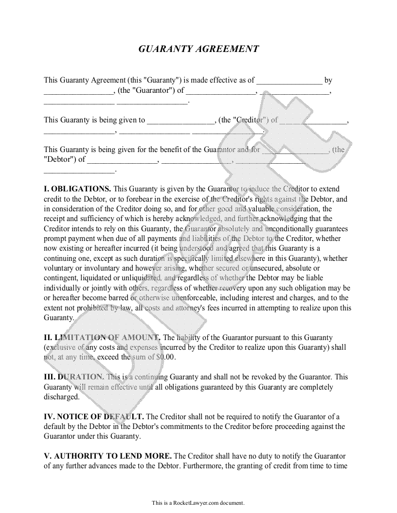Sample Guaranty Agreement Form Template