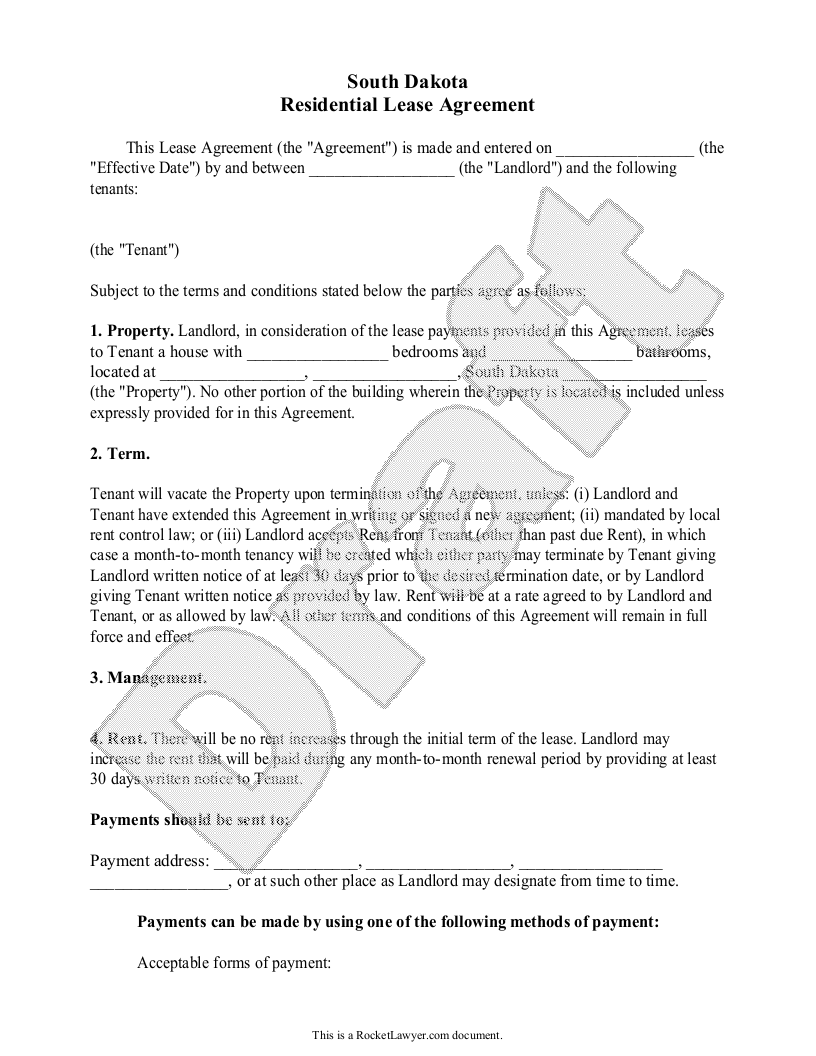 Sample South Dakota Lease Agreement Form Template