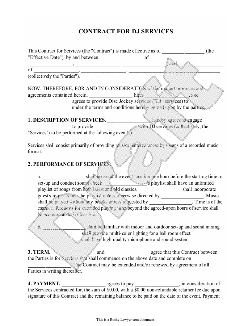 Sample DJ Contract Form