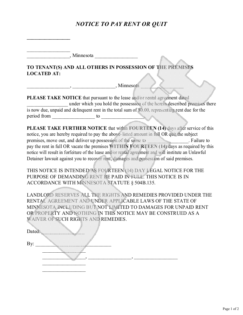 Sample Minnesota Eviction Notice Form Template