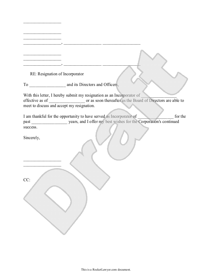 Sample Resignation of Incorporator Form Template