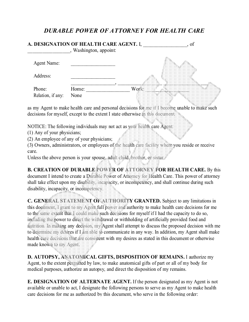 Sample Washington Healthcare Power of Attorney Form Template
