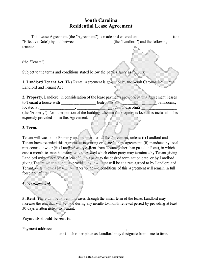 Sample South Carolina Lease Agreement Form Template