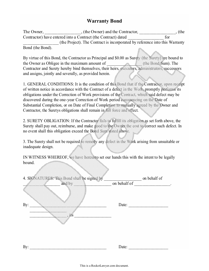 Sample Warranty Bond Form Template