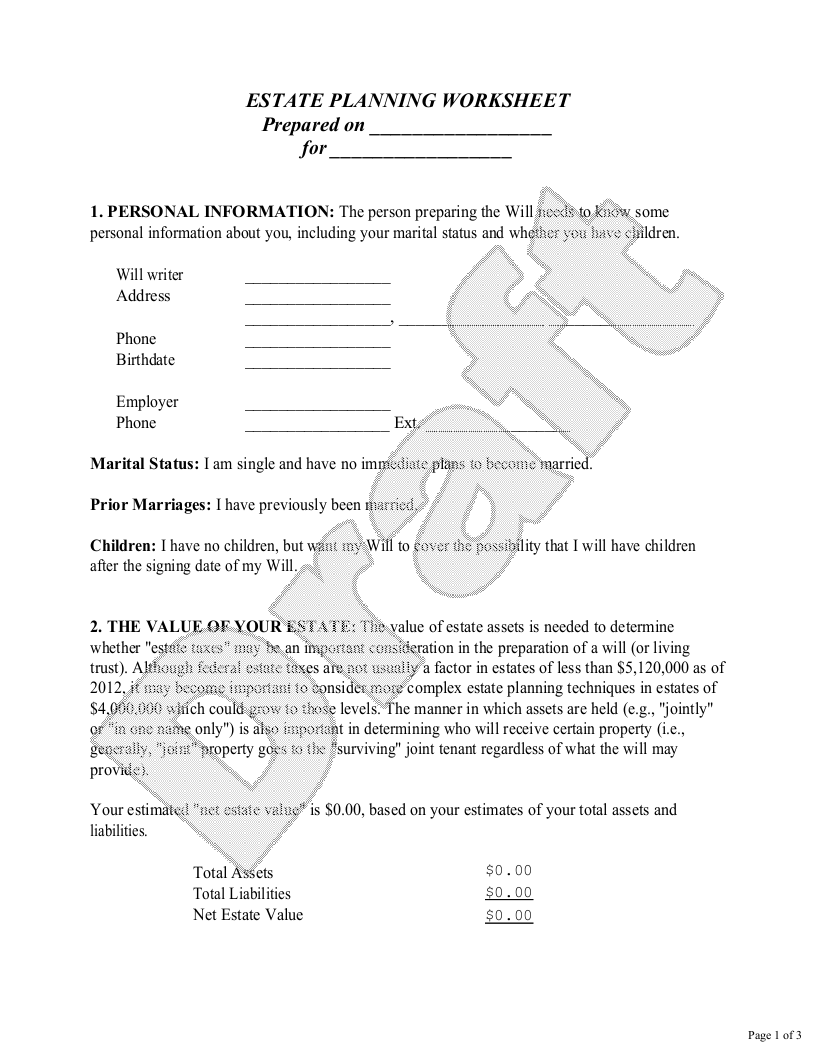 Sample Estate Planning Worksheet for Single People Form Template