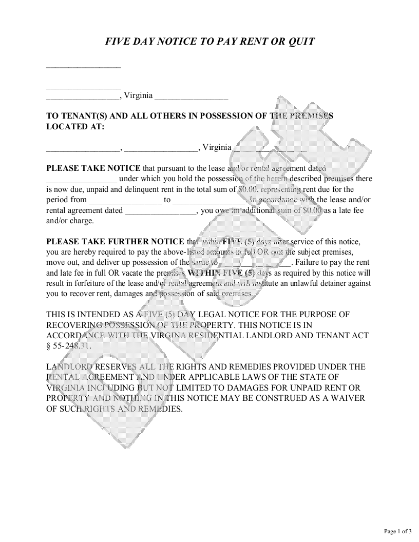 Sample Virginia Eviction Notice Form Template