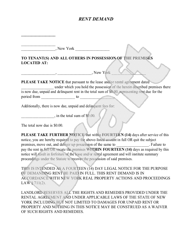 Sample New York Eviction Notice Form Template