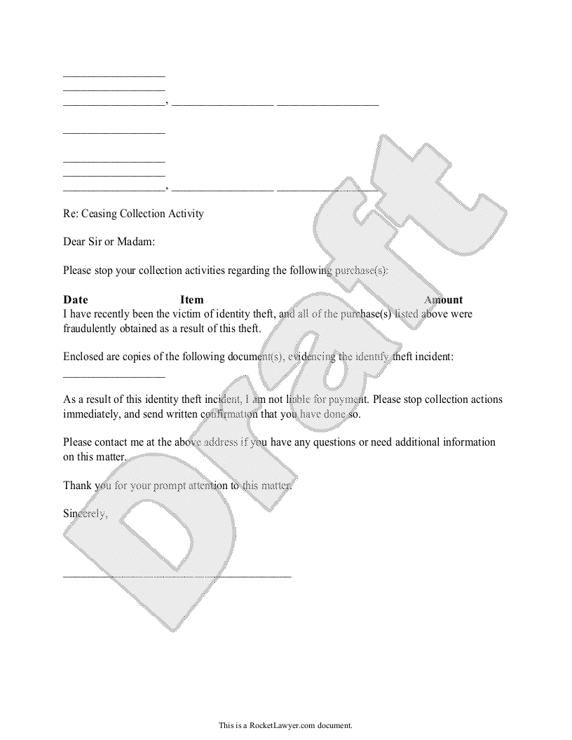 Sample Request to Cease Collection Activity Form Template