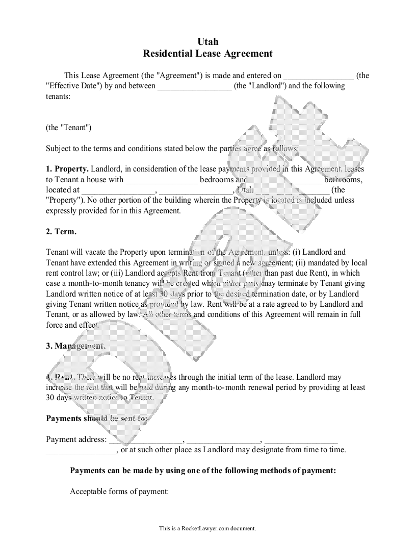 Sample Utah Lease Agreement Form Template