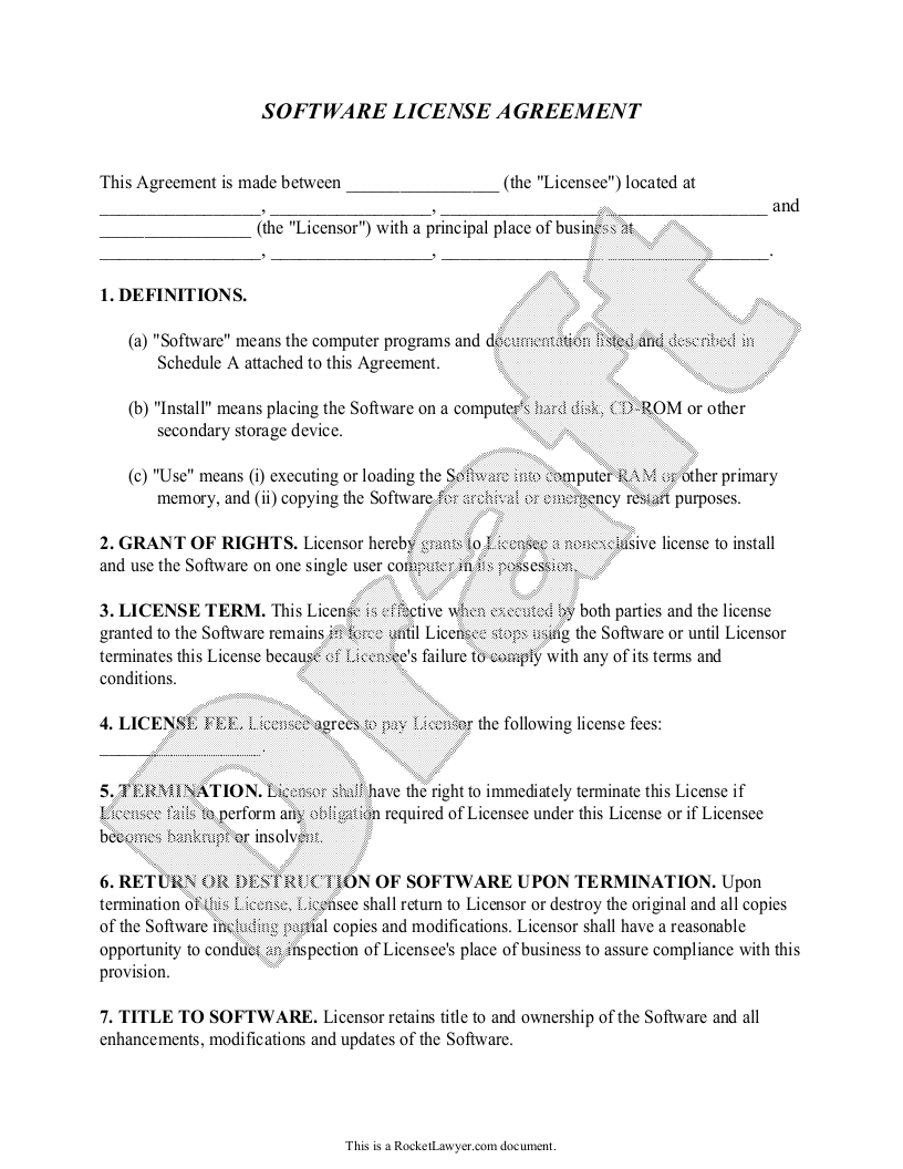 Sample Software License Agreement Form Template