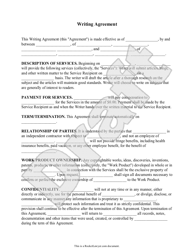 Sample Writing Contract Form Template