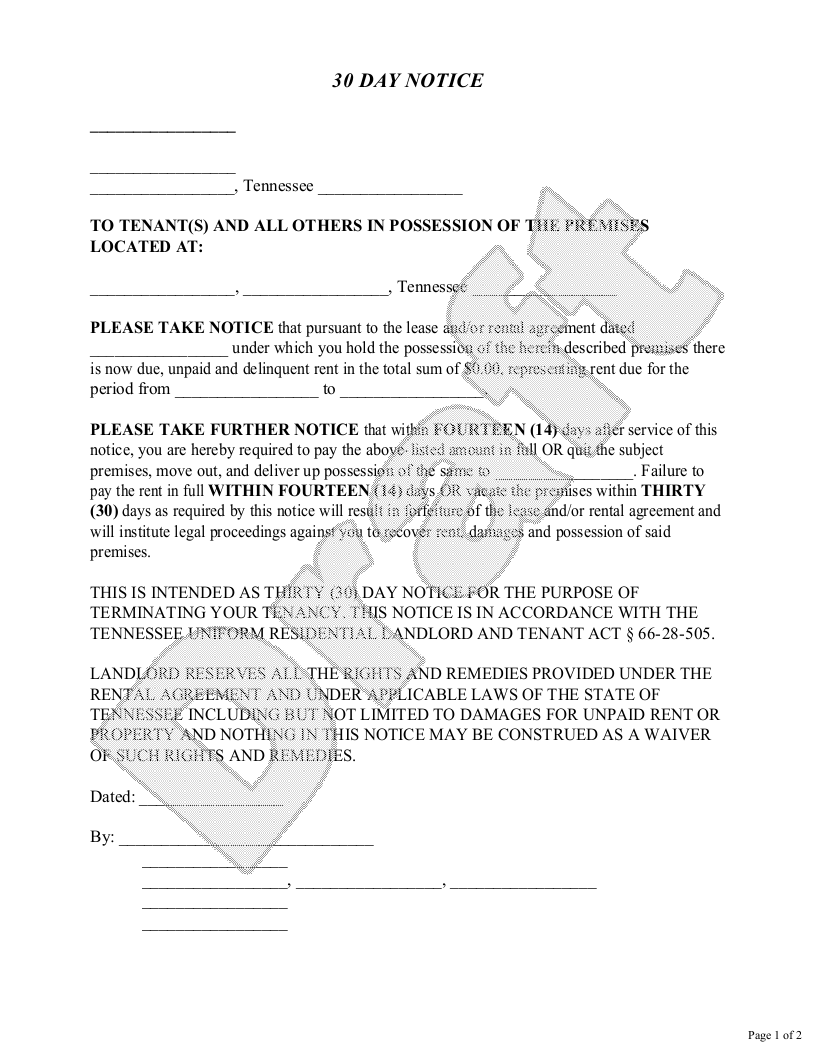 Sample Tennessee Eviction Notice Form Template