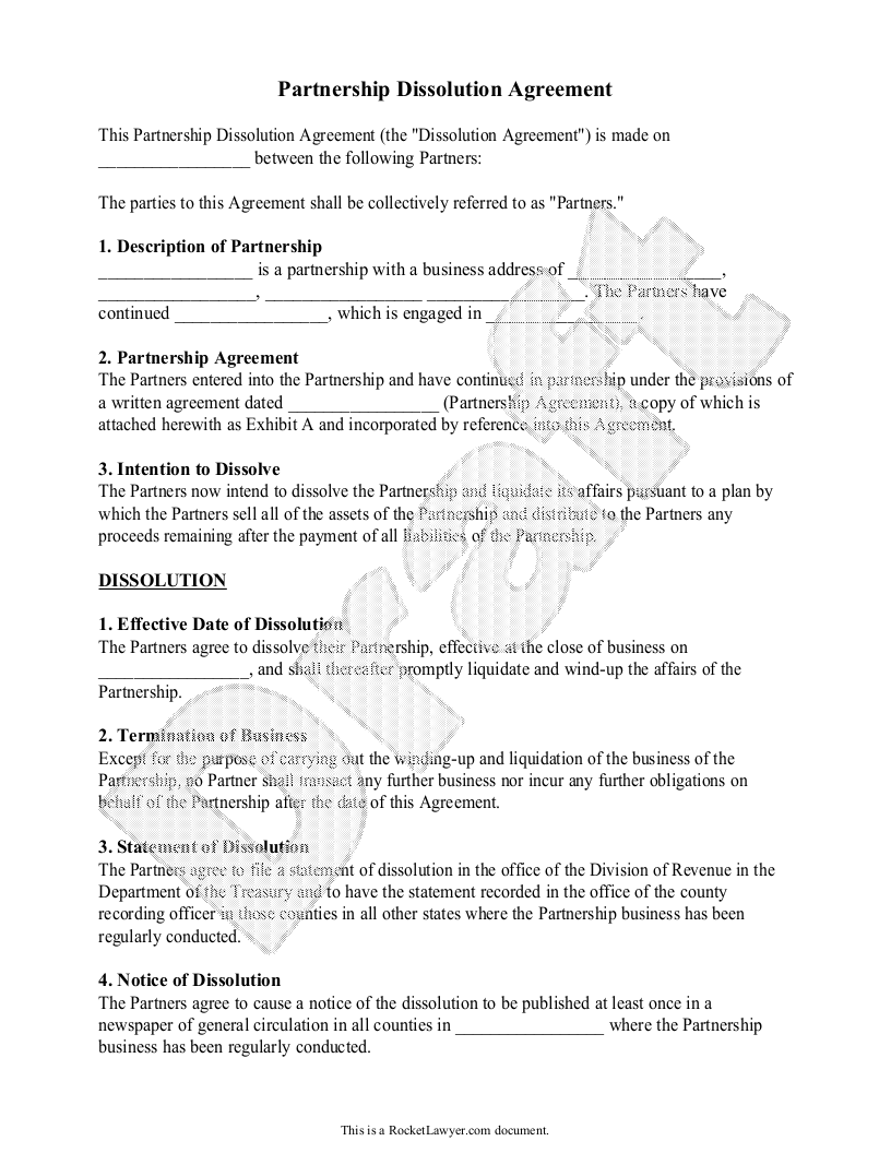 Sample Partnership Dissolution Agreement Form Template