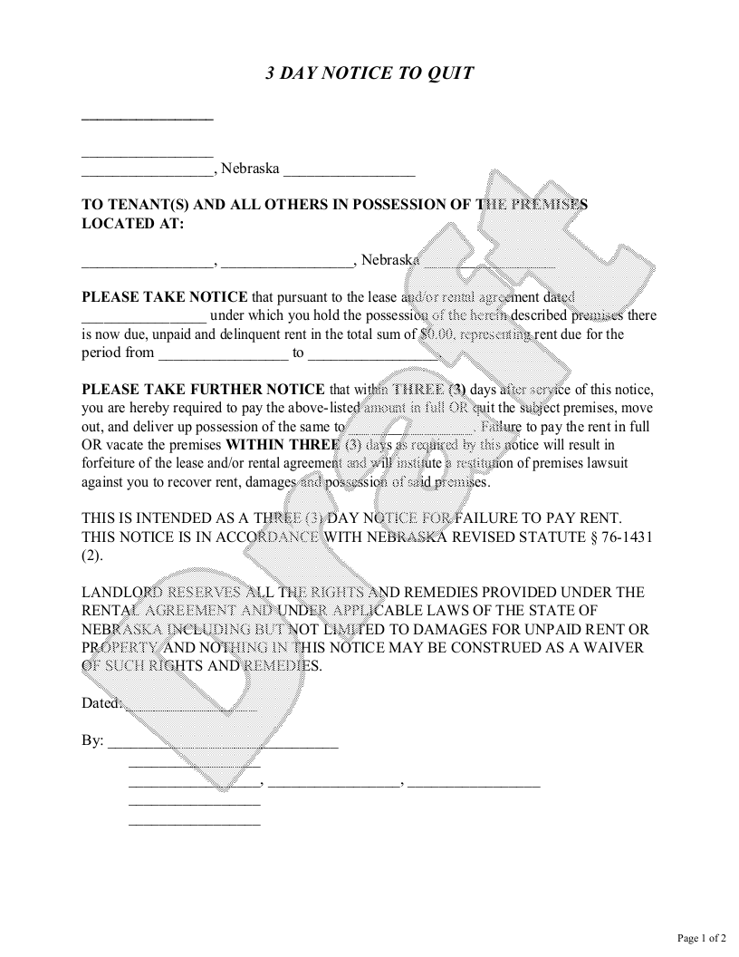 Sample Nebraska Eviction Notice Form Template