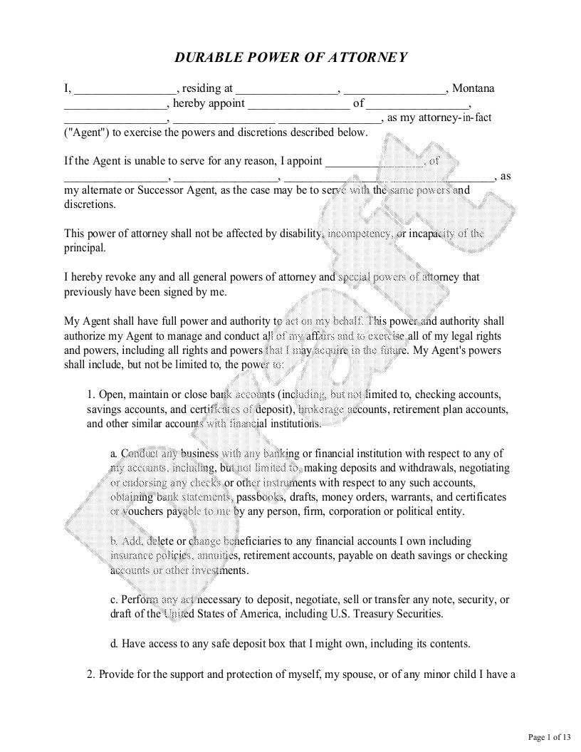 Sample Montana Power of Attorney Form Template